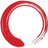 Röda Enso Zen Circle Brush Vector Illustration vektor illustrationer