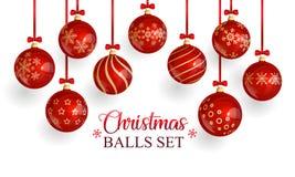 Röda exponeringsglasjulbollar med jul smyckar och röda pilbågar stock illustrationer