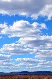 Röda fält under molniga blåa himlar Arkivbilder