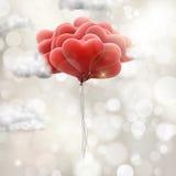 Röda förälskelseballonger 10 eps Royaltyfri Foto