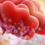 Röda förälskelseballonger 10 eps Arkivbild
