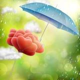 Röda förälskelseballonger 10 eps Arkivfoto