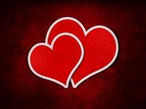 Röda förälskelsehjärtor för tappning Stock Illustrationer