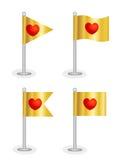 Röda förälskelsehjärtor på flaggor Fotografering för Bildbyråer