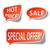 Röda försäljningsbubblaetiketter Royaltyfri Bild