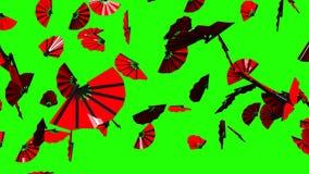 Röda fans på grön chromatangent stock video