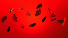 Röda fans på röd bakgrund lager videofilmer