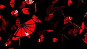 Röda fans på svart bakgrund stock video