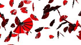 Röda fans på vit bakgrund arkivfilmer
