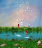 Röda fiskar i ett damm Fotografering för Bildbyråer