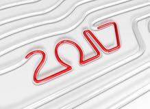 Röda 2017 flöden i ett Glass rör Typografisk konstkort för nytt år Royaltyfri Bild