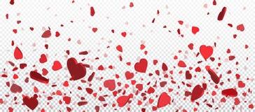 Röda flyghjärtakonfettier, valentindagbakgrund Designbeståndsdel för det romantiska förälskelsehälsningkortet, vykort för dag för stock illustrationer