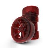röda framförda gummihjul för bil 3d royaltyfri illustrationer