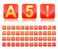 röda fyrkanter för alfabetguld Arkivbild