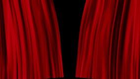 Röda gardiner öppnar stock illustrationer