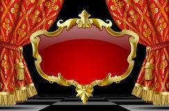 Röda gardiner med den klassiska prydnaden och dekorativ guld- barock Royaltyfria Bilder