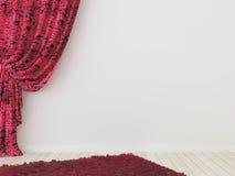 Röda gardiner med mattar Arkivfoton