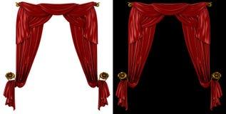 Röda gardiner på en svartvit bakgrund Fotografering för Bildbyråer