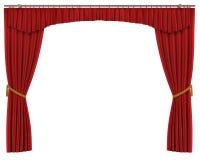 Röda gardiner som isoleras på vit bakgrund Royaltyfria Foton