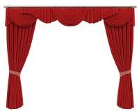Röda gardiner som isoleras på vit bakgrund Arkivfoton
