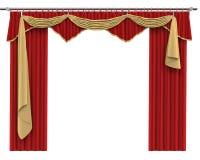Röda gardiner som isoleras på vit bakgrund Fotografering för Bildbyråer