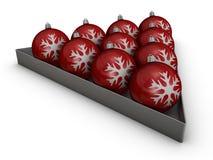 Röda garneringbollar Arkivfoto