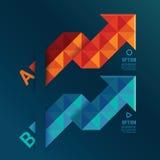 Röda geometriska pilar och blå färg Arkivbilder