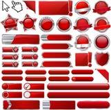 Röda glansiga rengöringsduksymboler och knappar Royaltyfria Foton