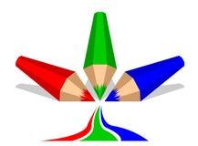 Röda, gröna och blåa färgpennor Arkivbild