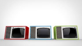 Röda, gröna och blåa tappningTVuppsättningar med vita framdelar vektor illustrationer