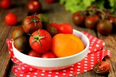 Röda, gula och härliga kulöra tomater Royaltyfri Bild