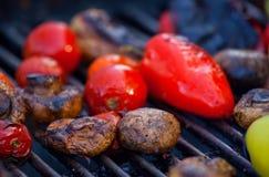 Röda gula spanska peppar, potatisar, champinjoner, tomater och aubergine som grillas till guld- brunt Arkivfoton
