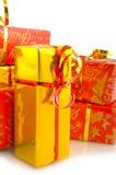 röda guld- presents för jul Royaltyfria Bilder