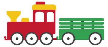 Röda gulliga Toy Train med den gröna släpillustrationen Arkivbilder