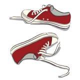 röda gymnastikskor vektor illustrationer