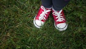röda gymnastikskor på grönt gräs, bästa sikt arkivfoto