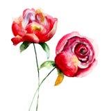 röda härliga blommor Arkivbild