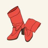 Röda hög-heeled kängor royaltyfri illustrationer