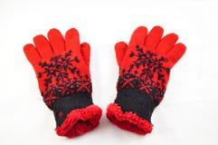 röda handskar Arkivfoton