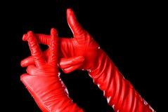 röda handskar royaltyfri fotografi