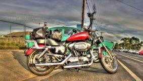 Röda Harley Davidson Fotografering för Bildbyråer