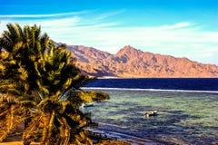 Röda havet och bergen i Dahab Arkivfoton