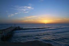 Röda havetsoluppgång Arkivfoton