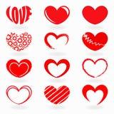 Röda hjärtaformer Fotografering för Bildbyråer