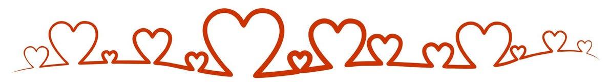 Röda hjärtasymboler som översikt Arkivfoto