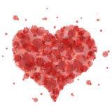 Röda hjärtavattenfärgfärgstänk Royaltyfria Bilder