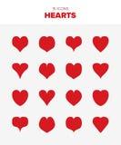 16 röda hjärtor royaltyfri illustrationer