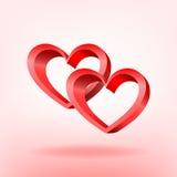 röda hjärtor 3D. Arkivfoto