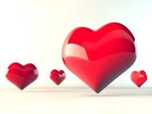 röda hjärtor för förälskelse 3d Stock Illustrationer