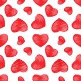 Röda hjärtor för sömlös bakgrund Arkivbild